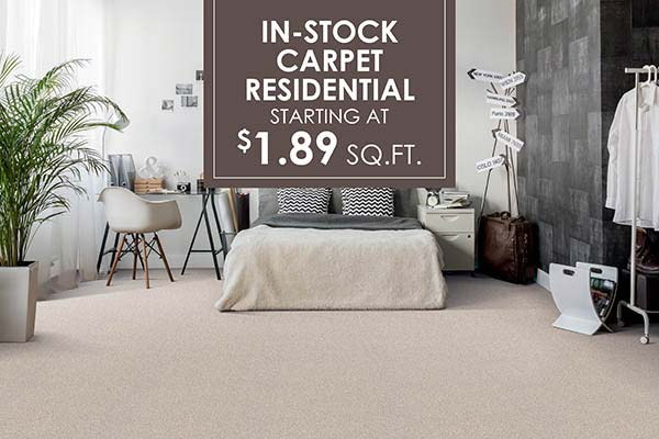 In-stock Residential carpet sale starting at $1.89 sq,ft. at J & S Flooring in Georgetown